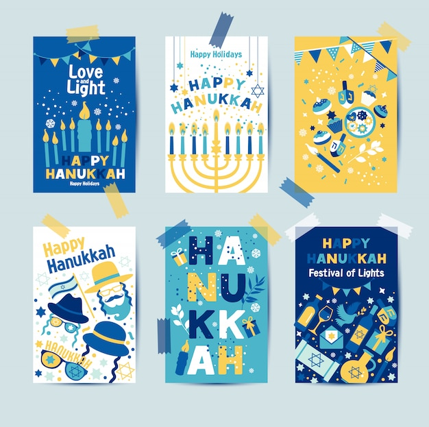 Set of colors six hanukkah greeting cards with candles Premium Vector
