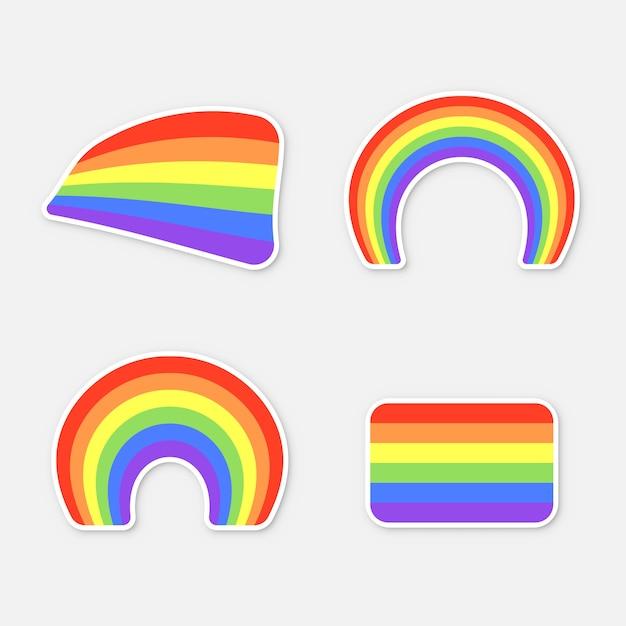 Set of colour rainbows  on white background. sticker set for print. lgbt flag,  illustration Premium Vector