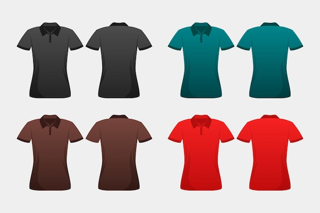 Set of coloured polo shirts Free Vector