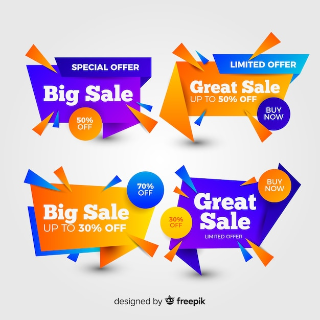 Set of colourful abstract sale banners Free Vector