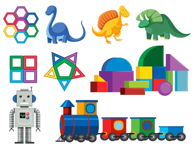 A set of colourful baby toys Premium Vector