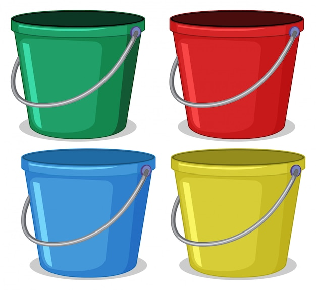 Set of colourful bucket Free Vector