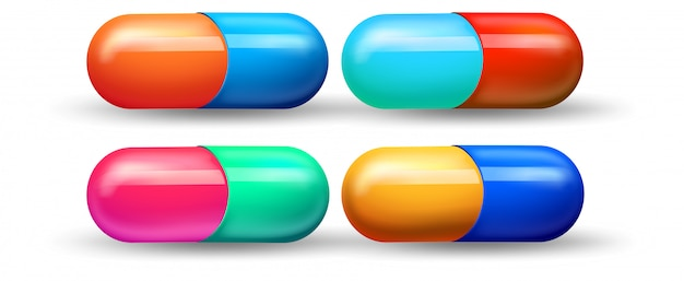 A set of colourful capsule Free Vector