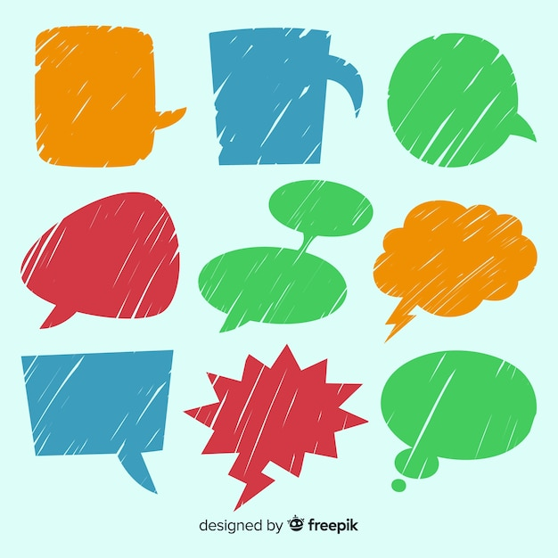 Set of colourful hand drawn speech bubbles Premium Vector
