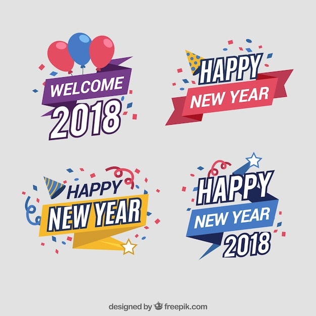 Set of colourful new year stickers Free Vector