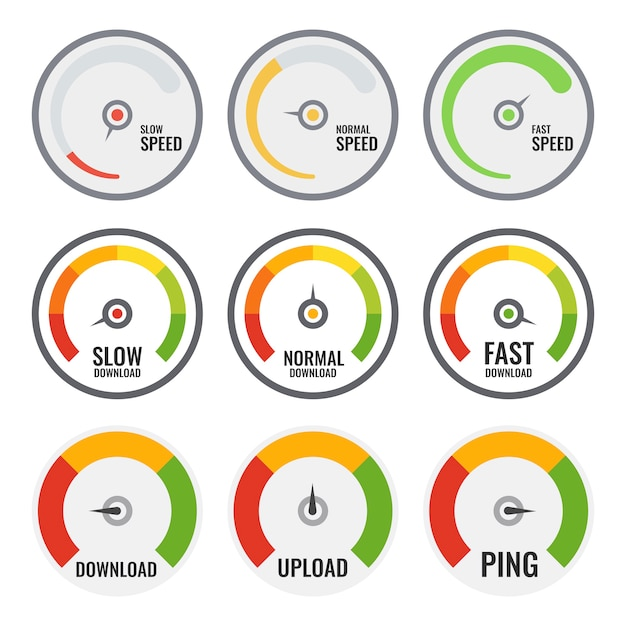 Set of colourful speed meter. three different. internet speed. Premium Vector