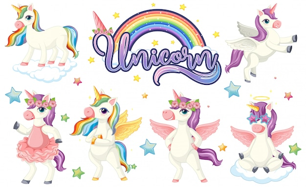 Set of colourful unicorn character Free Vector