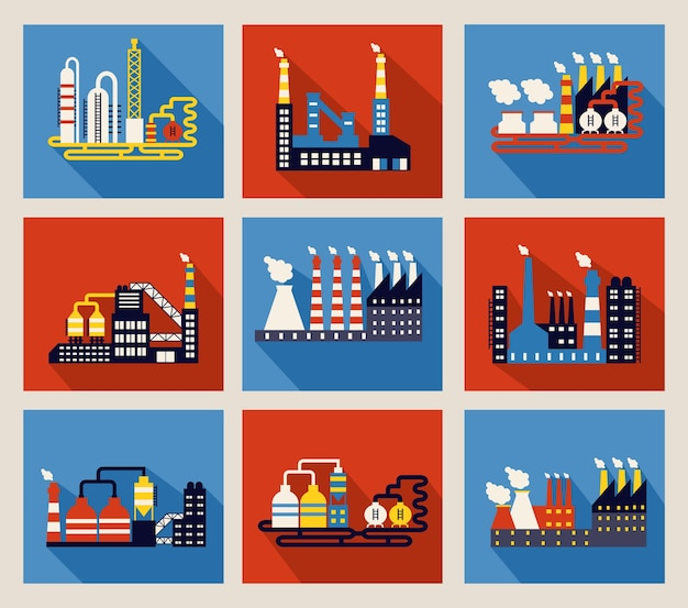 Set of colourful vector industrial factory buildings and refineries Free Vector