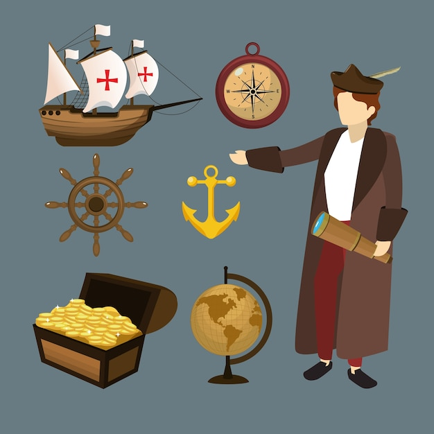 Set of columbus day icons Premium Vector