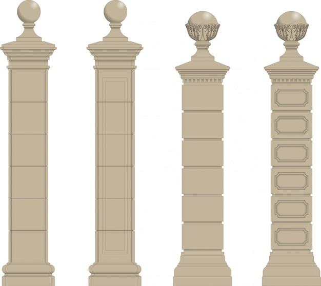 Set of column 3 Premium Vector