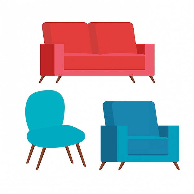 Set of comfortable couches and chair Free Vector