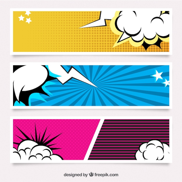 Set of comic banners Free Vector