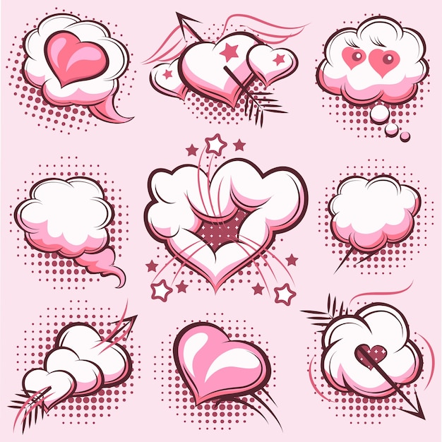 Set of comic elements for valentines day with explosions, hearts and arrows in the pink. clouds, love. vector illustration Free Vector