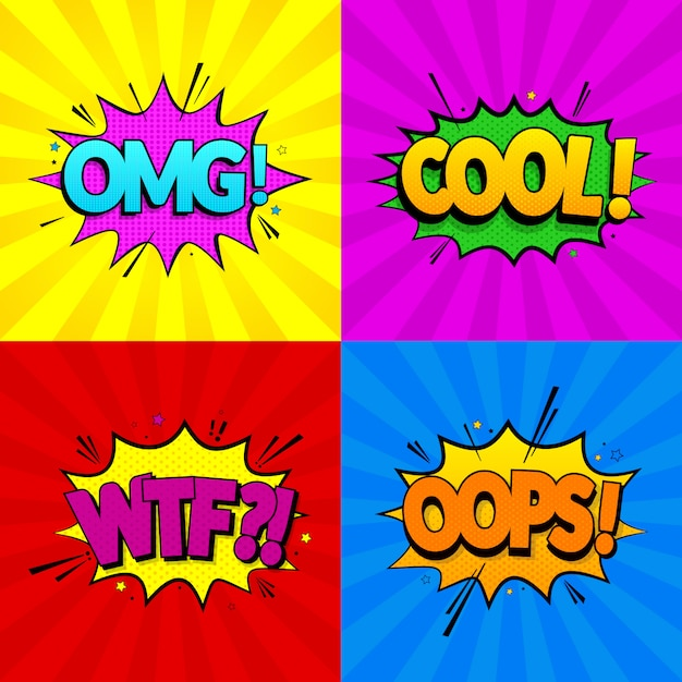 Premium Vector Set Of Comic Expressions Omg Cool Oops Wtf On Colored Backgrounds Pop Art Style Vector Illustration Eps 10
