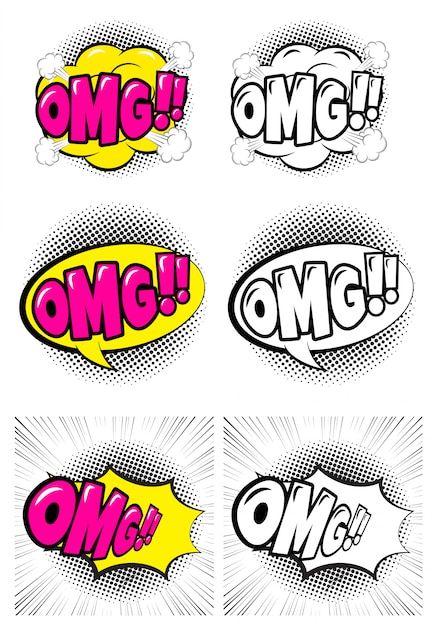 Set of comic speech bubble with expression text omg. Premium Vector