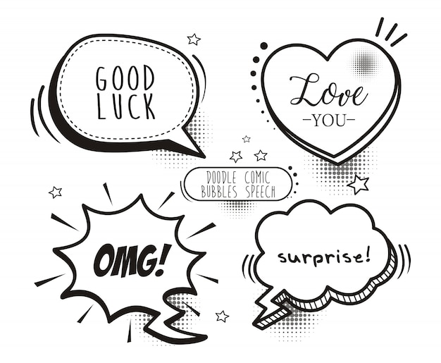 A set of comic speech bubbles and elements with halftone shadows Premium Vector