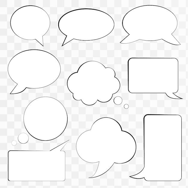 Set of comic speech bubbles Premium Vector