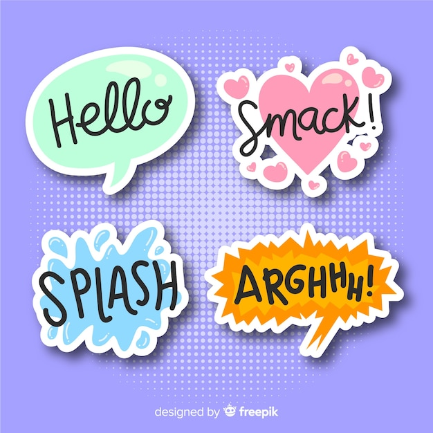 Set of comic speech bubbles Free Vector