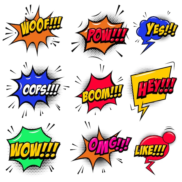 Set of comic style speech bubbles with sound text effects.  element for poster, card, banner, flyer.  illustration Premium Vector