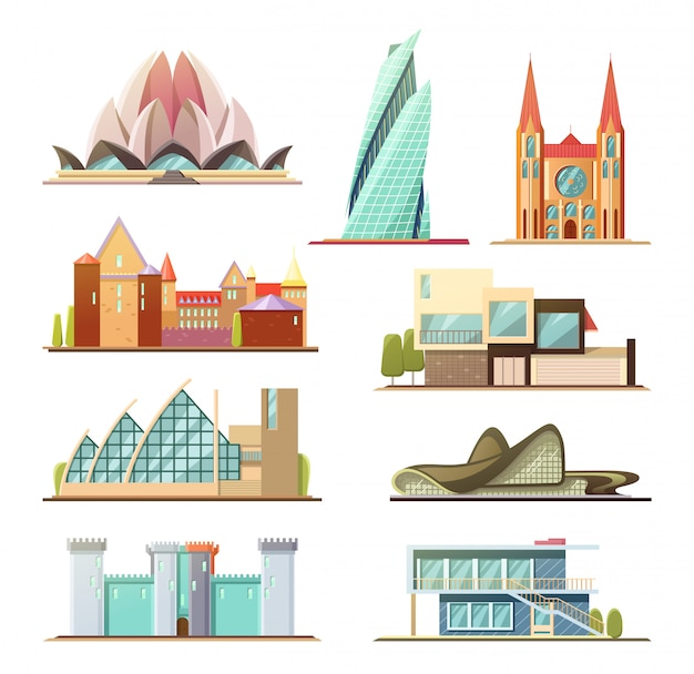 Set of commercial and residential buildings Premium Vector