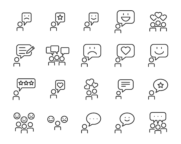Set of communication icons, such as chat Premium Vector