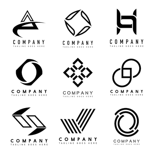 Set of company logo design ideas Free Vector