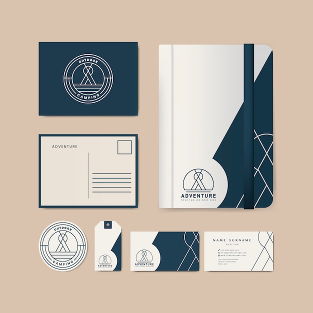 Set of company merchandise with logo Free Vector
