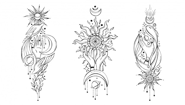 Set of compositions in indian boho style Premium Vector