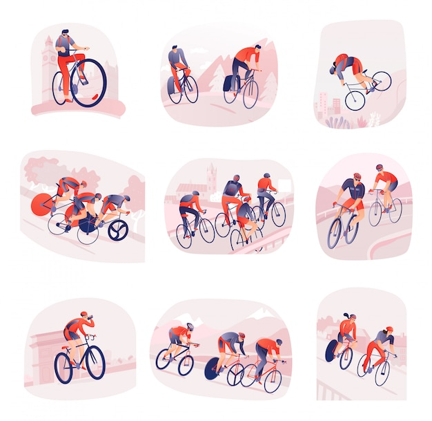 Set of compositions with bicyclists during cycling tour on  of city or nature isolated Free Vector