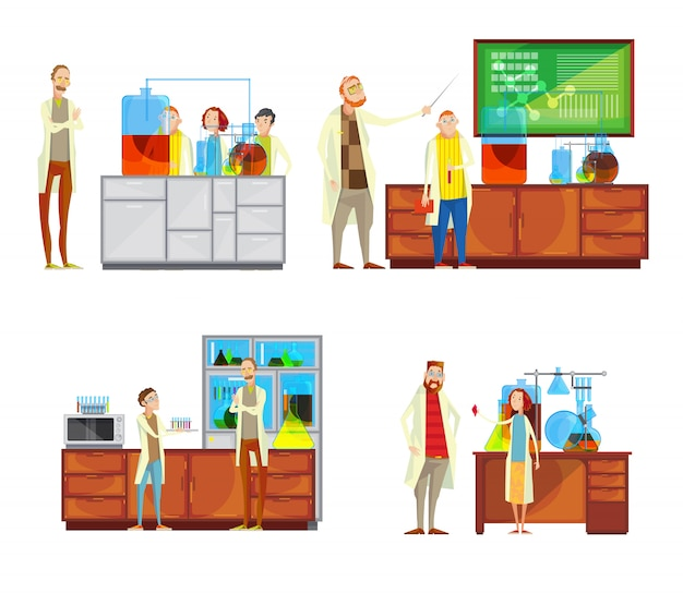 Set of compositions with teacher and students characters in chemical lab doing tests and taking less Free Vector