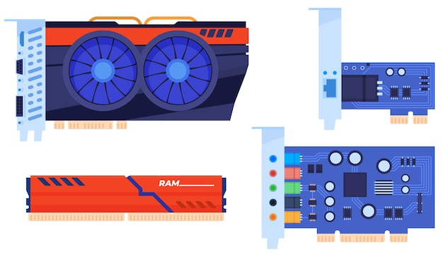 Set of computer parts. video card, ram, sound card, network card. isolated Premium Vector
