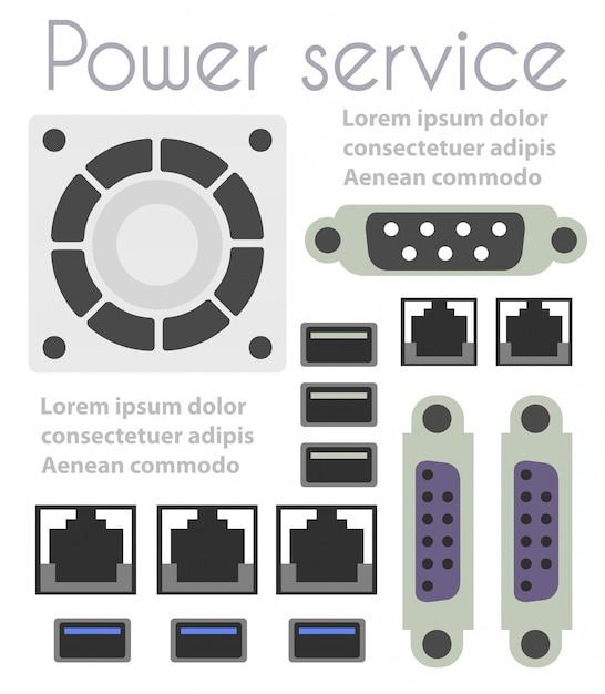 Set of computer parts Premium Vector