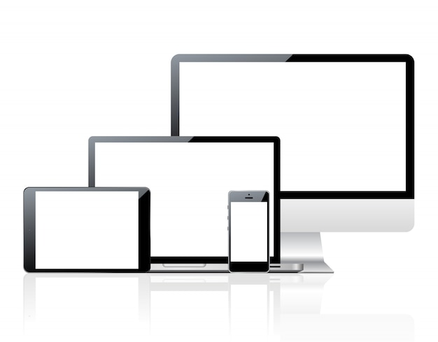 Set of computers and devices with blank screen Premium Vector