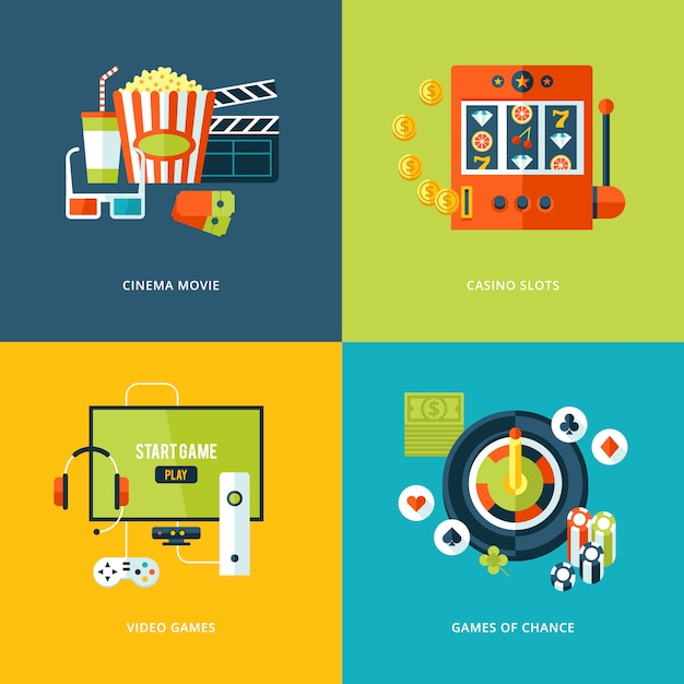 Set of   concept icons for entertainment kinds. icons for cinema movie, casino slots gaming, video games, games of chance. Premium Vector