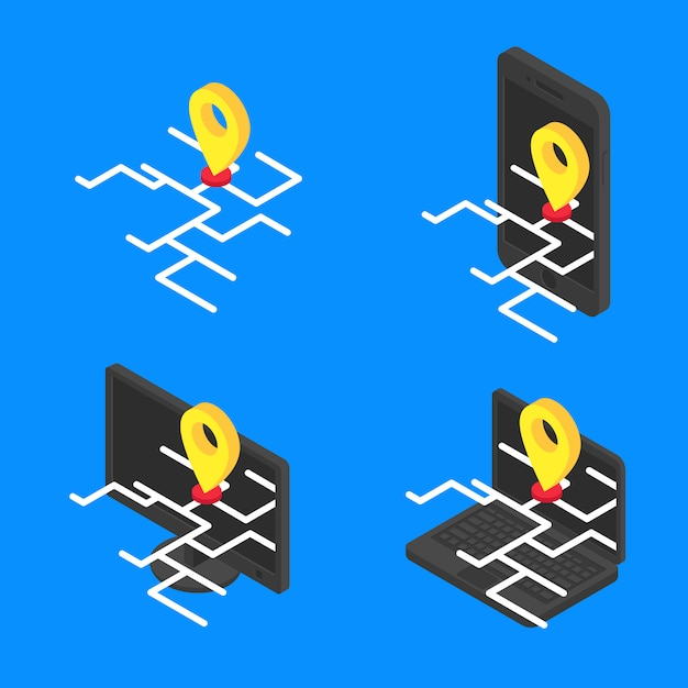 Set concept online map isometric. vector gps online on screen modern devices icon Premium Vector