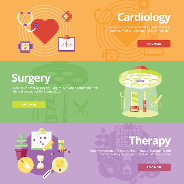 Set of   concepts for cardiology, surgery, therapy. medical concepts for web s and print materials. Premium Vector