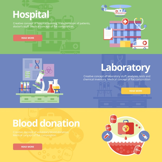Set of   concepts for hospital, laboratory and blood donation. medical concepts for web s and print materials. Premium Vector