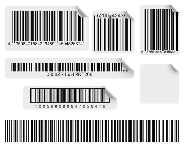 Set of conceptual barcode labels Premium Vector