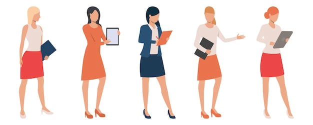 Set of confident ladies holding presentations Free Vector