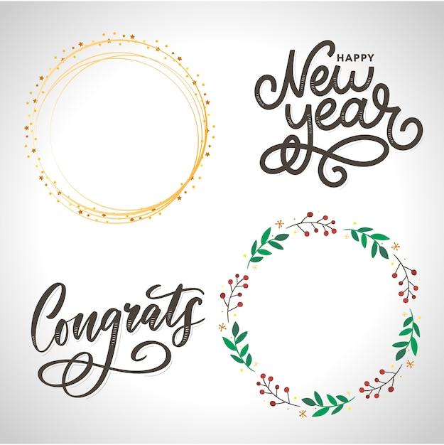 Set of congratulations lettering calligraphy Premium Vector