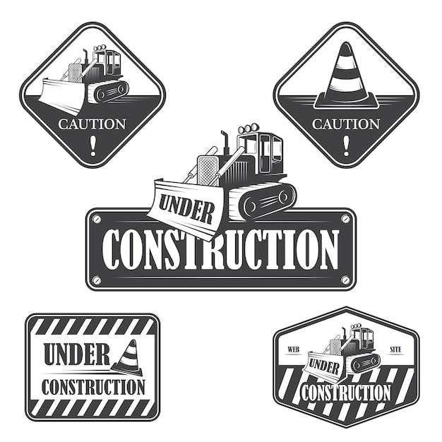 Set of under construction emblems, labels and designed elements Free Vector