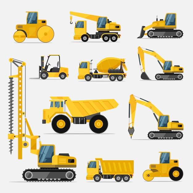 Set of construction equipment for the building work Premium Vector