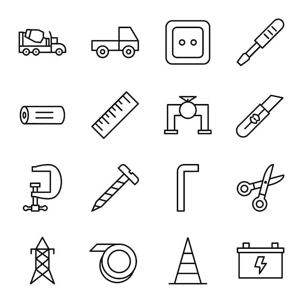 Set of construction icons isolated on white background... Premium Vector