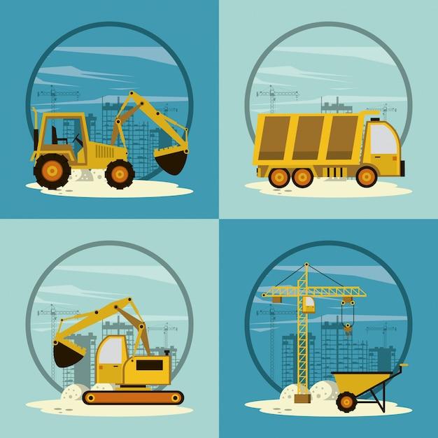 Set of under construction icons Premium Vector