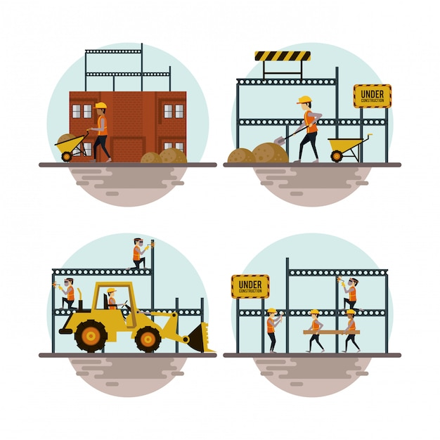 Set of under construction icons Premium Vector