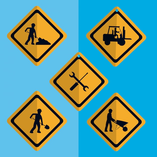 Set of construction roadsign icons Premium Vector