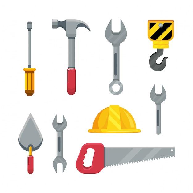 Set construction tools to maintenance service repair Premium Vector