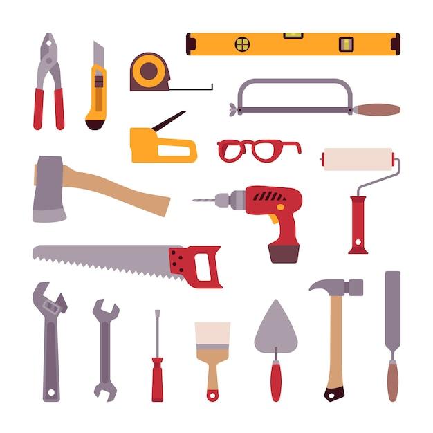Set of construction tools Premium Vector