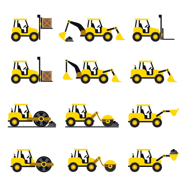A set of construction vehicles icons in flat style Free Vector