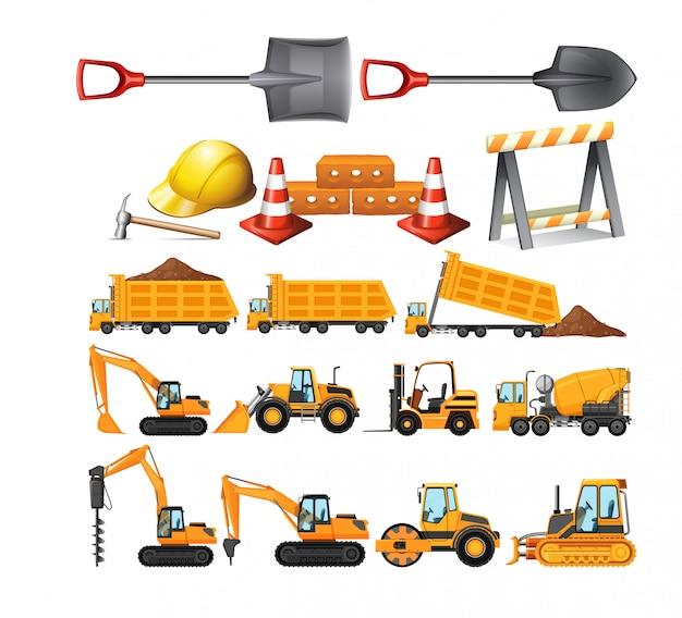 Set of construction vehicles Premium Vector